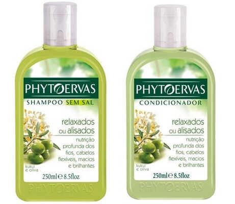 Shampoo sem sal e Condicionador Relaxados ou Alisados, Phytoervas
