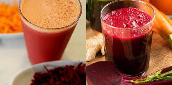 Suco de beterraba, maça e cenoura